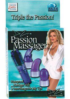 DR Z PASSION MASSAGER WITH 3 INTERCHANGABLE TIPS PURPLE