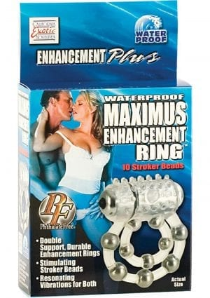 Waterproof Maximus Enhancement Ring With 10 Stroker Beads Clear