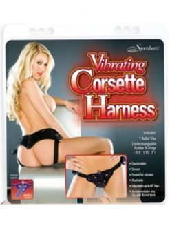 Vibrating Corsette Harness Black