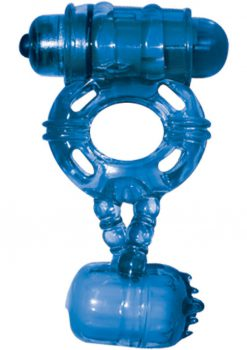 The Macho Double Cock And Balls Ring With Clitoral Tickler Silicone Waterproof Blue