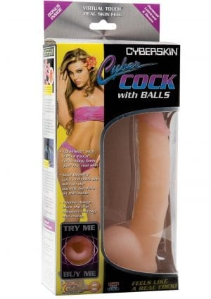 Cyberskin Cybercock With Balls Dildo 8 Inch Natural