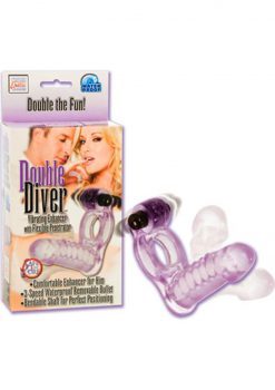 Double Diver Vibrating Enhancer With Flexible Penetrator 3 Speed Removable Bullet Clear