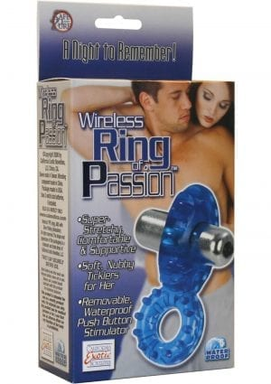 Wireless Ring of Passion With Removable Waterproof Stimulator Blue