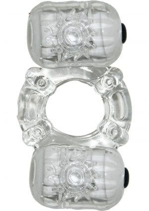The Macho Crystal Collection Partners Pleasure Ring 7 Function Waterproof Clear