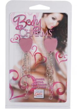 Body Charms Non Piercing Body Jewelry Pink Heart Adhesive