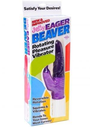 Jelly Eager Beaver Rotating Pleasure Vibrator 9.25 Inch Purple