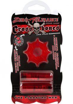 Zero Tolerance Cross Bones The Pleasure Web Cock Ring With Double Bullets Waterproof Red