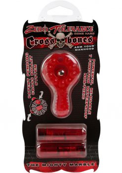 Zero Tolerance Cross Bones The Mighty Marble Cock Ring With Double Bullets Waterproof Red