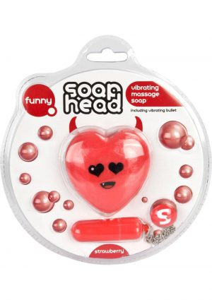 Shots Toys Soap Head Vibrating Massage Soap Strawberry