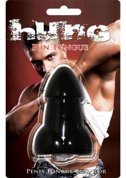 Hung Fun Penis Tongue Vibrator Silicone Waterproof Black