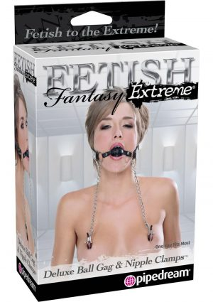Fetish Fantasy Extreme Delux Ball Gag and Nipple Clamp