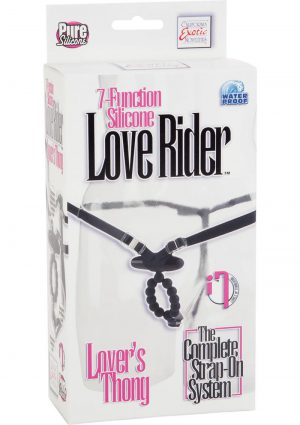 7 Function Silicone Love Rider Thong Black