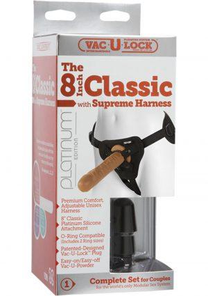 Vac U Lock Platinum Classic Cock Attachment With Supreme Harness Set Silicone Brown 8 Inch
