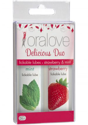 Oralove Delicious Duo Lickable Strawberry And Mint Lubes 1 Ounce 2 Each Per Set