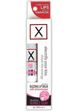 X On The Lips Buzzing Lip Balm With Pheromones Bubble Gum .75 Ounce