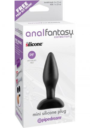 Anal Fantasy Mini Silicone Plug Kit Black 3 Inch