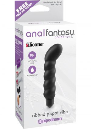 Anal Fantasy Ribbed P-Spot Silicone Vibe Waterproof 4 Inch Black