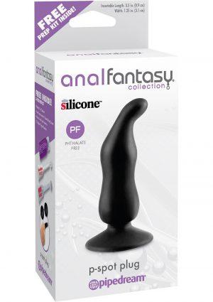 Anal Fantasy Collection Silicone P-Spot Plug Black 3.5 Inch
