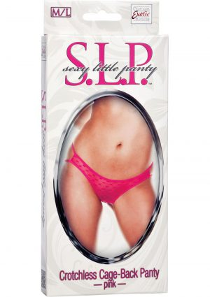 SLP Sexy Little Panty Crotchless Cage Back Panty Pink Medium/Large