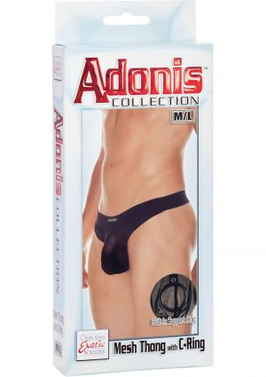 Adonis Mesh Thong With C-Ring Black Medium/Large