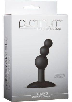 Platinum Premium Silicone The Minis Bubble Butt Plug Black Small 2.7 Inch