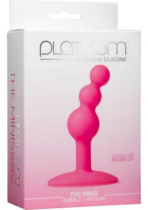 Platinum Premium Silicone The Minis Bubble Butt Plug Pink Medium 3.8 Inch