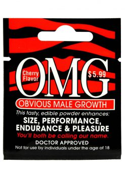 OMG Obious Male Growth Edible Powder Enhancer Cherry Flavor Single Pack