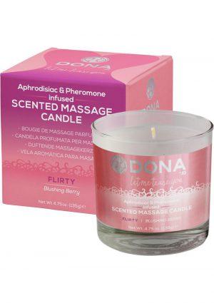 Dona Aphrodisiac and Pheromone Infused Scented Massage Candle Flirty Blushing Berry 4.75 Ounce