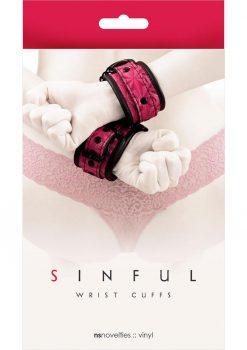 Sinful Vinyl Wrist Cuffs Pink