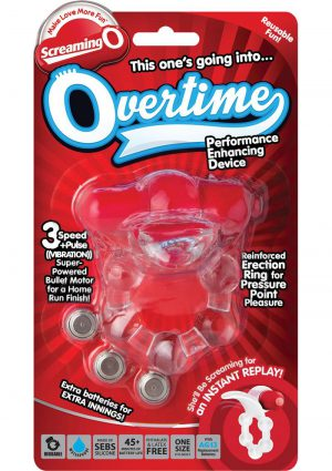 Screaming O Overtime Silicone Vibrating Cockring Waterproof Red