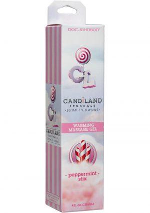 Candiland Sensuals Flavored Warming Massage Gel Peppermint 4 Ounce
