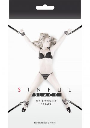 Sinful Black Vinyl Bed Restraint Straps Black