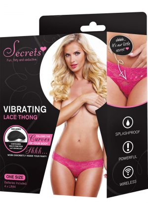 Secrets Vibrating Lace Thong Pink
