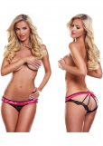 Secrets Vibrating Open Back Panty Black and Pink