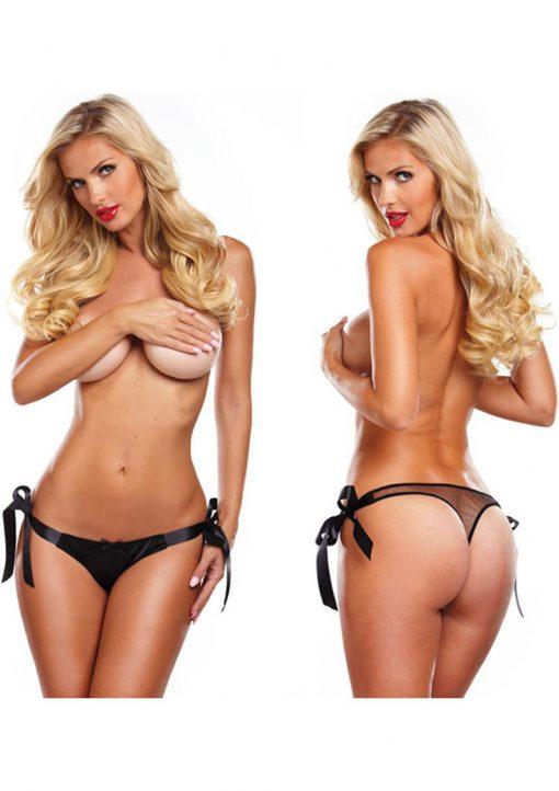 Secrets Vibrating Side Tie Panty Black
