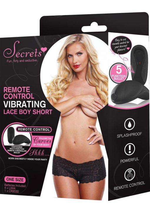 Secrets Remote Control Vibrating Lace Boy Short Black