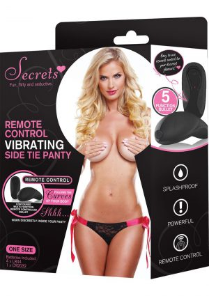 Secrets Remote Control Vibrating Side Tie Panty Black/Pink