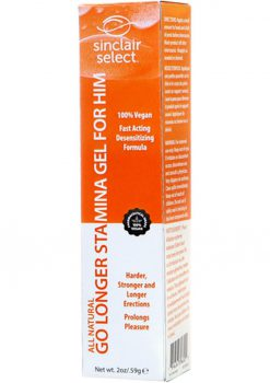 Sinclair Select All Natural Go Longer Vegan Stamina Gel For Him 2 Ounce