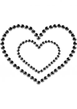 Bijoux Indiscrets Body Decorations Mimi Rhinestone Pasties Heart Black 2 Each Per Pack