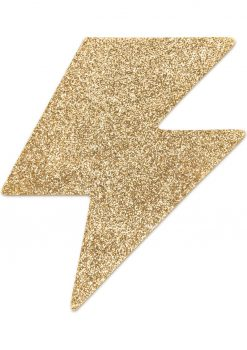 Bijoux Indiscrets Body Decorations Flash Reusible Glitter Pasties Bolt Gold 2 Each Per Pack