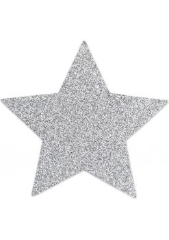 Bijoux Indiscrets Body Decorations Flash Reusible Glitter Pasties Star Silver 2 Each Per Pack