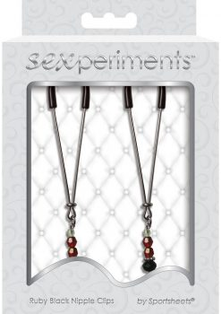 Sexperiments Ruby Black Adjustable Nipple Clips With Beads