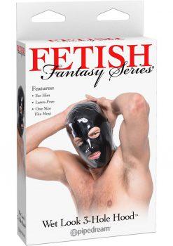 Fetish Fantasy  Wet Look 3 Hole Hood