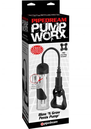 Pipedream Pump Worx Blow N Grow Penis Pump Clear 7.5 Inch