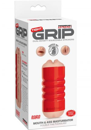 PDX Tight Grip Mouth and Ass Masturbator Red