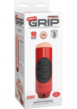 Pipedream Extreme Mega Grip Squeezable Vibrating Mouth Stroker Masturbator Red