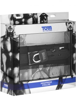 Tom of Finland Adjustable Neoprene Collar With Lock Black 18.5 Inch