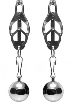 Master Series Deviant Monarch Weighted Nipple Clamps Metal 3.5 Inch