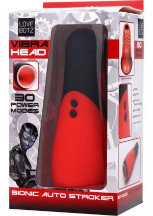 Vibra Head Bionic Auto Stroker Masturbator Red 8.5 Inch