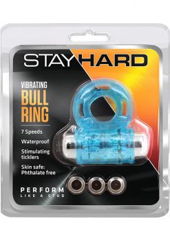 Stay Hard Vibrating Bull Ring Waterproof Blue